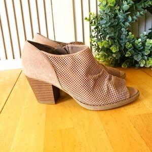 MIA Open Toe Block Heel Tan Booties Size 7.5